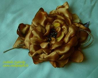 Handmade golden satin flower brooch, flower clip & pin