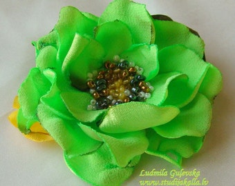 Handmade lime green satin flower brooch, flower clip & pin