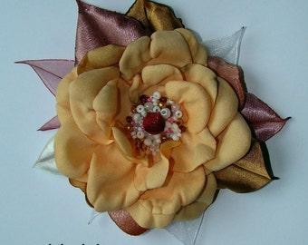 Handmade light peach satin flower brooch, flower clip & pin, embroidered flower