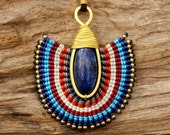 Tribal design necklace with waxed cotton weaving matched to hand shaped brass and lapis lazuli gemstone