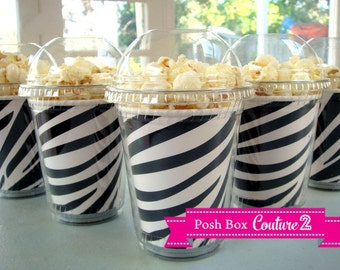 Popcorn Cups with dome lid, Birthday Party Set of 12 Zebra