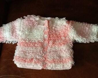 Crocheted loopy cardigan