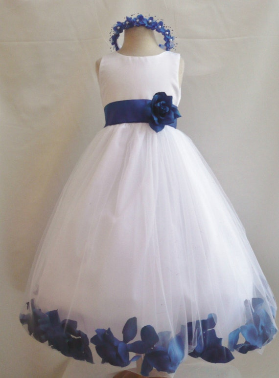 Flower girl dresses white with blue royal rose by for Wedding flowers girl dresses