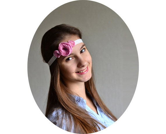 Pink Flowers Headband - Bridal, wedding accessories