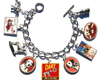 Handmade Dalmation Dog Charm Bracelet Vintage Altered Art Label Pewter Charms