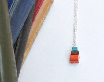 Colourful Pile of Books Necklace - Ex Libris Book Stack Jewellery - Teal, Brown, Orange Tiny Leather Books - Miniature OOAK Handcrafted