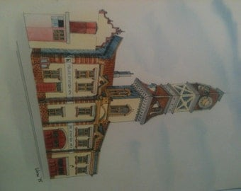 two Original Watercolors  from Woro   Old Fire hall No 4 and the Gooderham building