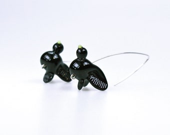 Black Bird Earrings: Glass and Sterling Silver