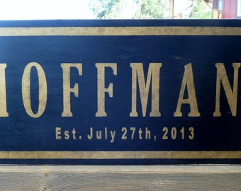 Personalized Family Name Wood Sign - Handpainted and Lightly Distressed - Great gift for Wedding or Anniversary Gift