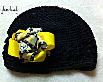 Pittsburg Steelers Baby Girl Bow Crocheted Hat