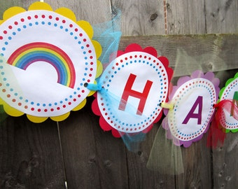 Rainbow Birthday Banner - Rainbow Baby Shower - Rainbow Birthday Name Banner