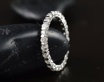 Vivian - Diamond Eternity Band in White Gold, Round Brilliant Cut Diamonds, Bar Set, Classic, Stacking Ring, Wedding Ring, Free Shipping
