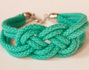 ON SALE!!!!!' Sailor knot rope bracelet - bridesmaid / friend / bridal shower gift  (turquoise)