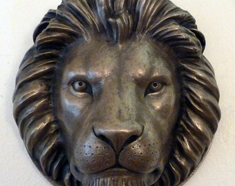 Lion Head wall plaque cast in brass or bronze resin
