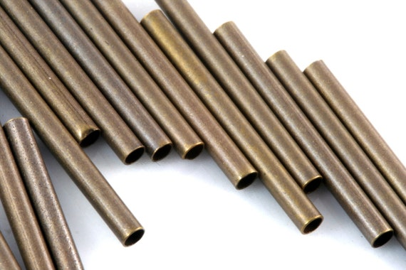 25 pcs  20 x 2 mm (hole 1,6 mm ) antique brass tone brass tube industrial brass charms, pendant, findings spacer bead ttt02 E220-33