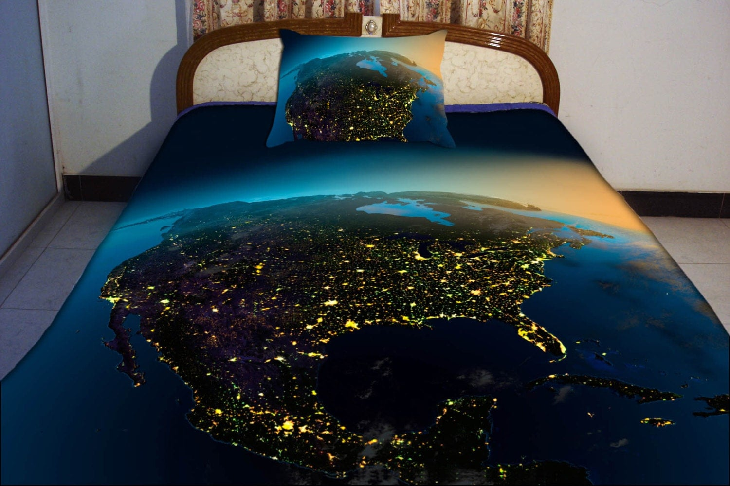 Bedding sets catalogue tokida for north america night vision map duvet cover us map by tbedding gumiabroncs Choice Image