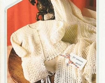 baby matinee coat and shawl layette set vintage crochet pattern PDF