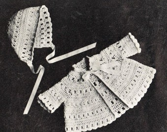 Baby crochet matinee coat and bonnet vintage crochet pattern PDF