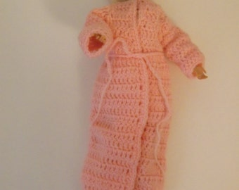 Crocheted Barbie robe with short nightgown