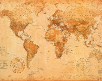 Vintage Style World Canvas Map (size 610x910mm)