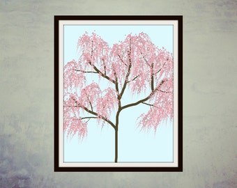 Digital Print, Printable Art, Wall Art, Digital Art, Pink Willow Tree