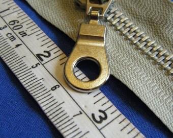"light khaki 18"" open ended zipper separating zipper metal teeth chunky zip good quality"