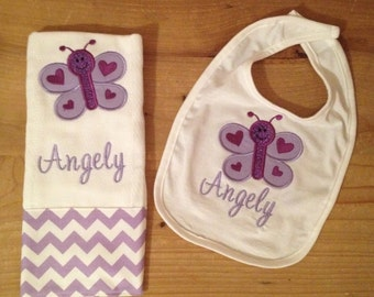 Purple Butterfly Bib and Burp Cloth Set With Monogramming