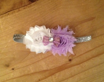 Purple, White, and Silver Shabby Flower Headband
