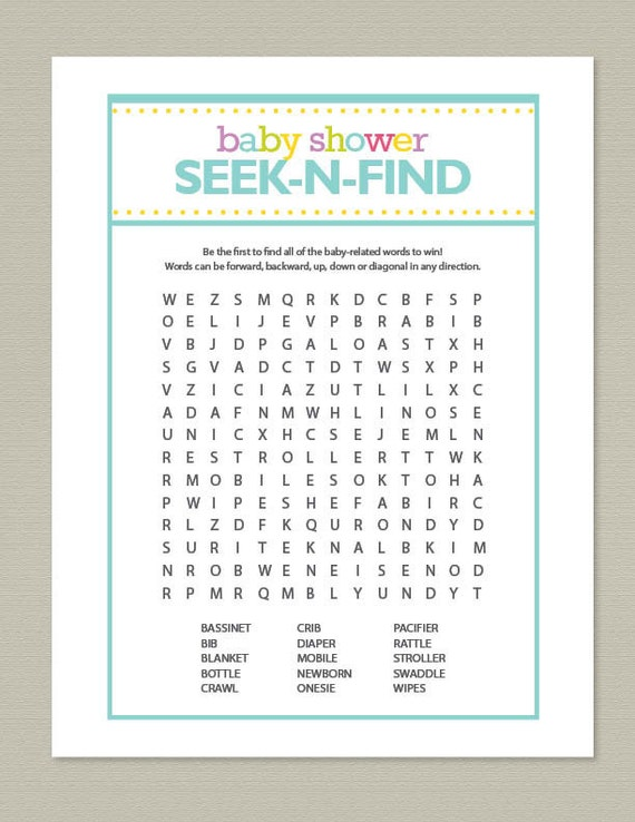 blue baby shower word search game by getpartychic on etsy