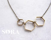 Vintage Honeycomb necklace - hexagon necklace, brass jewelry modern geometric necklace, simple everyday necklace