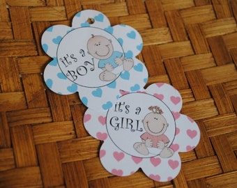Baby Shower Favor Tags - Its a Girl Tag - Its a Boy Tag - Favor Tags - Set of 25 of Paper Tags