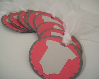 Baby shower onesies gift tags / labels ~ girl