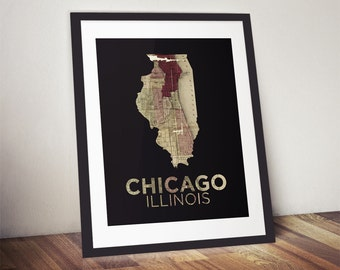 Chicago Map Print, Illinois State Print, Chicago Poster, Chicago Print, Illinois Map, Chicago Illinois Map, State Poster