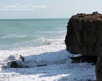 Beach Rocks Print, Florida Photograph, Beach Theme, Coastal Print, Ocean Waves, Nautical Home Decor, Stuart Florida 11x14