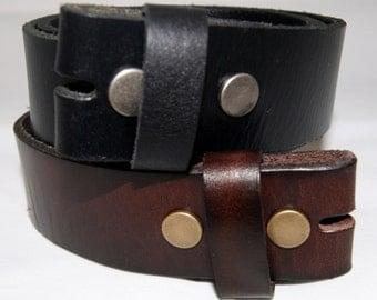 "Vintage Leather Belts Strips 1 1/2"" wide in Black or Brown"