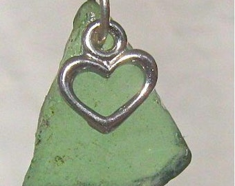 Green Nova Scotia sea glass pendant with heart charm