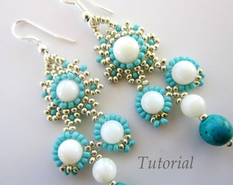 PDF Tutorial Beaded Mongolian Earrings- beaded pattern seed beads round beads