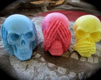 Hear no evil, See no evil, Speak no evil colorful Skulls