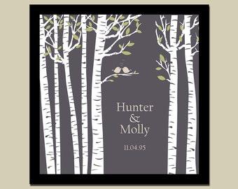 Birch Tree with Love Birds/Family Tree/Bride & Groom/Wedding/Anniversary Date Square Print  in sizes 10x10, 12x12, 16x16