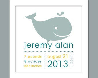 Boy's Whale Birth/Girl's Whale Birth Announcement/Personalized Birth Print - Square Print  in sizes 10x10, 12x12, 16x16