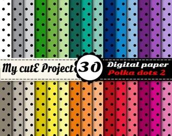 Polka dots Digital Paper | Digital Paper | Polka dot scrapbook paper | Black Polka dots  | Scrapbooking polka dot | Commercial use N2