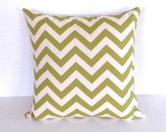 White and Green Throw Pillow - Green Chevron Throw Pillow