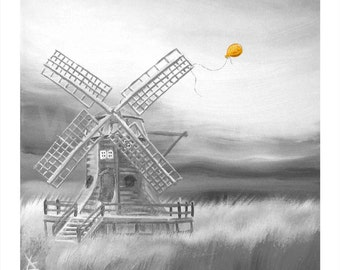 Print of an oil painting - The Orange Balloon III (13,5 x 13,5 inch) Colour Variation NEARLY black and white