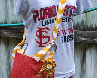 FSU Florida State University Seminoles Noles Garnet with Gold Polka Dot Messenger Cross Body Bag Purse