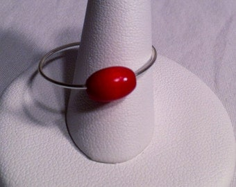 Adjustable Silver Wire Ring With Red Bead  Wire Wrapped