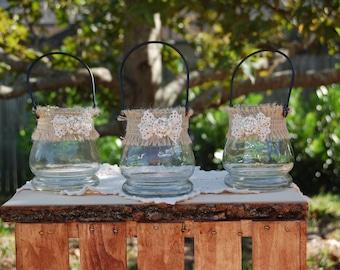 Rustic Candle Holders/Rustic Flower Vase/Shabby Chic Candle Holders/Rustic Centerpiece/Rustic Wedding Decor/Shabby Chic Wedding/Barn Wedding