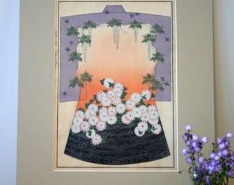 Kimono Design with Wistera and Chrysanthemums, Original Japanese woodblock print, c. 1900