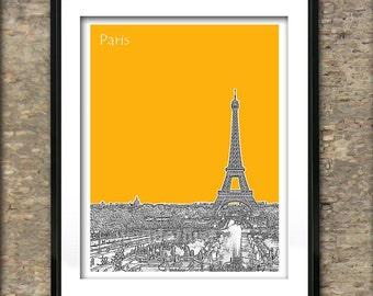Paris France Skyline Art Print Poster A4 Size Eiffel Tower