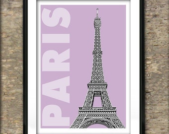 Paris France Art Print Poster A4 Size Eiffel Tower