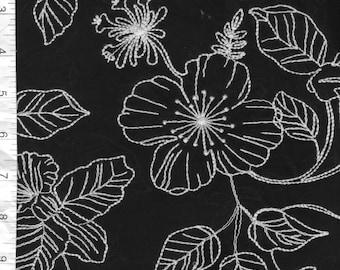 1 1/4 yd Black & White Embroidered Cotton Batiste